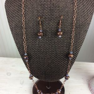 Antique Copper Purple Necklace and Earrings